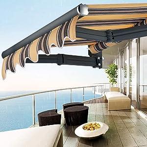 ZHAS Garden Parasols Manual Awning Canopy Garden Patio Shade Shelter Patio Gazebo Outdoor Retractable Wall x Telescopic (2x1.5m)
