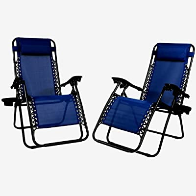 Set Of 2 Lounge Chairs Beach Patio Pool Lawn Deck Yard Folding Recliner Pillow Cup - Skroutz