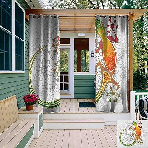 leinuoyi Batik, Outdoor Curtain Set, Native Southeast Asian Common House Gecko Moon Lizard Tropical Monster Graphic Design, for Pergola W108 x L108 Inch Multicolor (Gecko Sunshade)