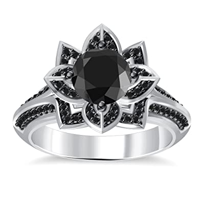 silvernshine jewels 14k white gold plated black cz simulated diamonds lotus wedding ring jewelry - Lotus Wedding Ring