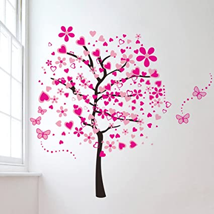 Amazon.com: Pink Butterfly Flower Tree PVC Wall Decals Removable ...