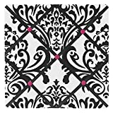 Sweet Jojo Designs Hot Pink, Black and White Isabella Fabric Memory/Memo Photo Bulletin Board