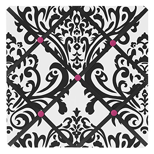 Sweet Jojo Designs Hot Pink, Black and White Isabella Fabric Memory/Memo Photo Bulletin Board (Black And White Art Design)