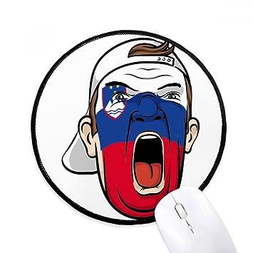 DIYthinker Bandera de Eslovenia máscara de maquillaje que grita Cap Ronda antideslizante tapetes de ratón Negro
