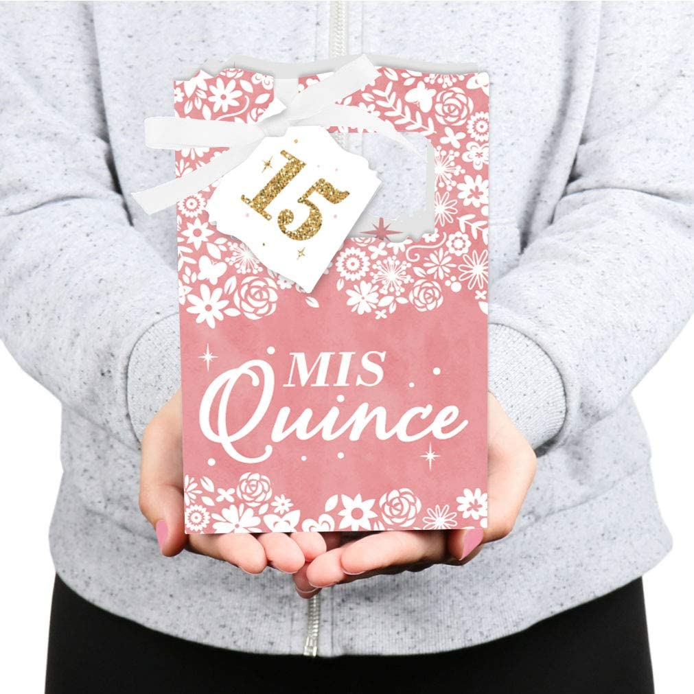 MAE65BLNDJOSEFAS18SV-GD- Quince Party Favors Mis Quince Anos Personalized Favor Container in Gold or Silver Birthday Favors 12 pcs