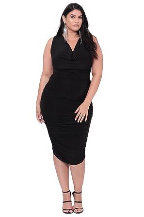 7ed1c5afb99 Image Unavailable. Image not available for. Color  Curvy Sense Plus Size  Cowl Neck Bodycon Dress - Black