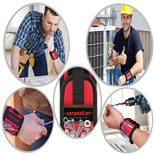 Carpenter Magnetic Wristband For Holding Tools - Magnetic Tool Holder - With Powerful Magnets Holder Construction tools holding for screws nails best gifts for men man dad husband workers woodworker by Carpenter (Image #4)