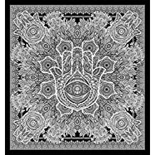 Exclusive Hamsa Hand Branded Tapestry For Goodluck By Raajsee, gray Indian Mandala Wall Art, black and white tapestry, Hippie Wall Hanging, Bohemian Bedspread