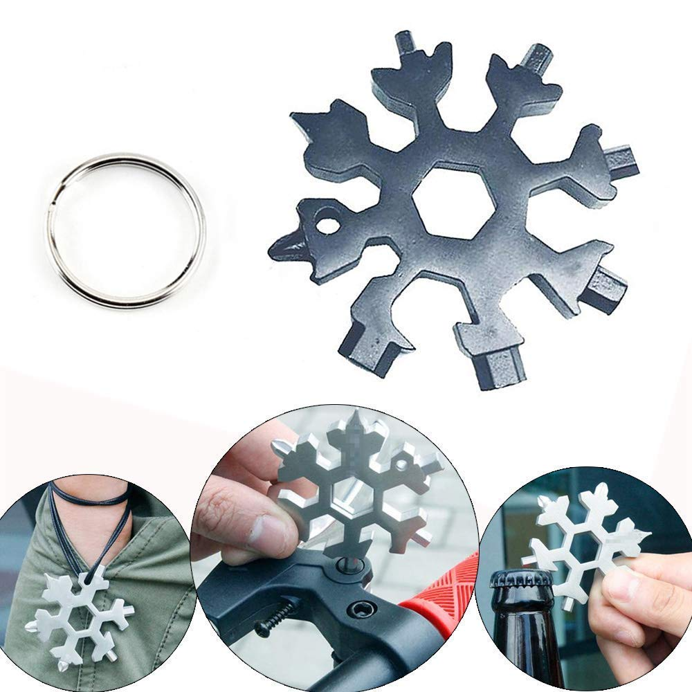 Mini Portable Snowflake Multi Tool Black Bobopai 18-in-1 Stainless Steel Multi-Tool Screwdriver Bottle Opener Keychain Anti-Lost Incredible Tool for Military Enthusiasts and Outdoor EDC Tool /¡/