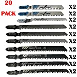 20 Pcs T-Shank Assorted Jigsaw Blades Set with Storage Case, Made with HCS Jig Saw Blades Fits Most T Shank Jig Saw, Blades optimized for cutting Metal, Wood, PVC, and Plastic