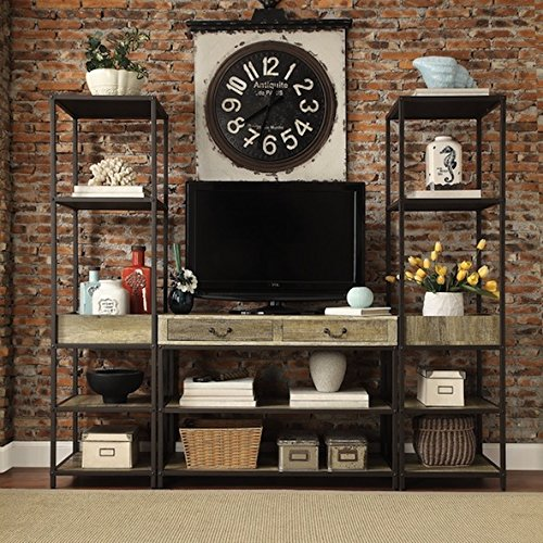 Living Room Custom Wood Brown Open Shelf Media Console with Two Towers