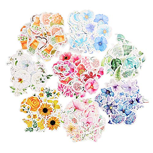 Molshine 360pcs Various Special Shaped Stickers-Flower Series Decals for Personalize Laptops, Skateboards, Luggage, Cars, Bumpers, Bikes, Bicycles,Books-8 Different Styles of Flowers -