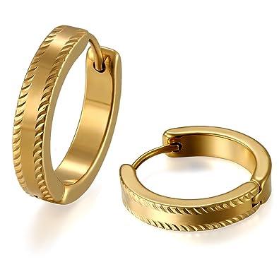JewelryWe Par de Pendientes de Hombre Mujer Unisex, Pendientes de Aros Dorados de Color Oro Llamativo, Pendientes Huggie Acero Inoxidable