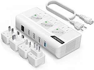 Voltage Converter, GEARGO 230W Power Converter Step Down 220V to 110V Universal Travel Adapter for Hair Straightener, Curling Iron with 4-Port USB Charging UK/AU/EU/IT/US Worldwide Plug Adapter White