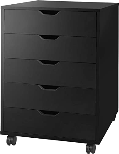 DEVAISE 5-Drawer Chest, Wood Storage Dresser Cabinet with Wheels, Black