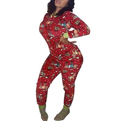 Womens One Piece Onsies Sleepwear Ugly Christmas Pajamas Hooded Jumpsuit Rompers Clubwear Nightwear