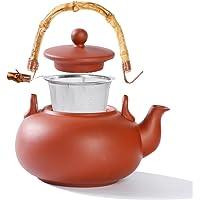 Urban Lifestyle Dzbanek do herbaty Terry – 1,0 l dzbanek do herbaty z gliny z uchwytem bambusowym i stalowym filtrem