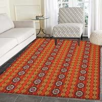 Native American Print Area rug Ethnic Indigenous Cultural Motif Pattern Traditional Borders Indoor/Outdoor Area Rug 4x5 Orange Yellow and White