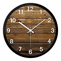LauderHome 12-Inch Non-Ticking Silent Wall Clock with Modern and Nice Design for Living Room Large Kitchen Wall Clock Battery Operated (Wood)