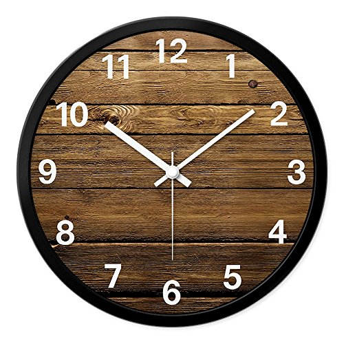 LauderHome 12-Inch Non-Ticking Silent Wall Clock with Modern and Nice Design for Living Room Large Kitchen Wall Clock Battery Operated - Round Glasses India Frame