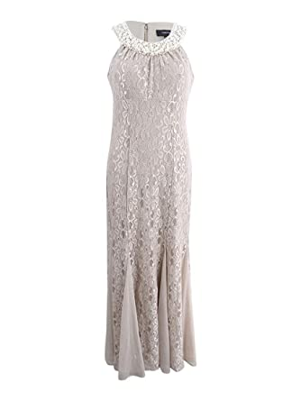 R&M Richards Women\'s Plus Size Embellished Lace Gown (14W, Champagne ...