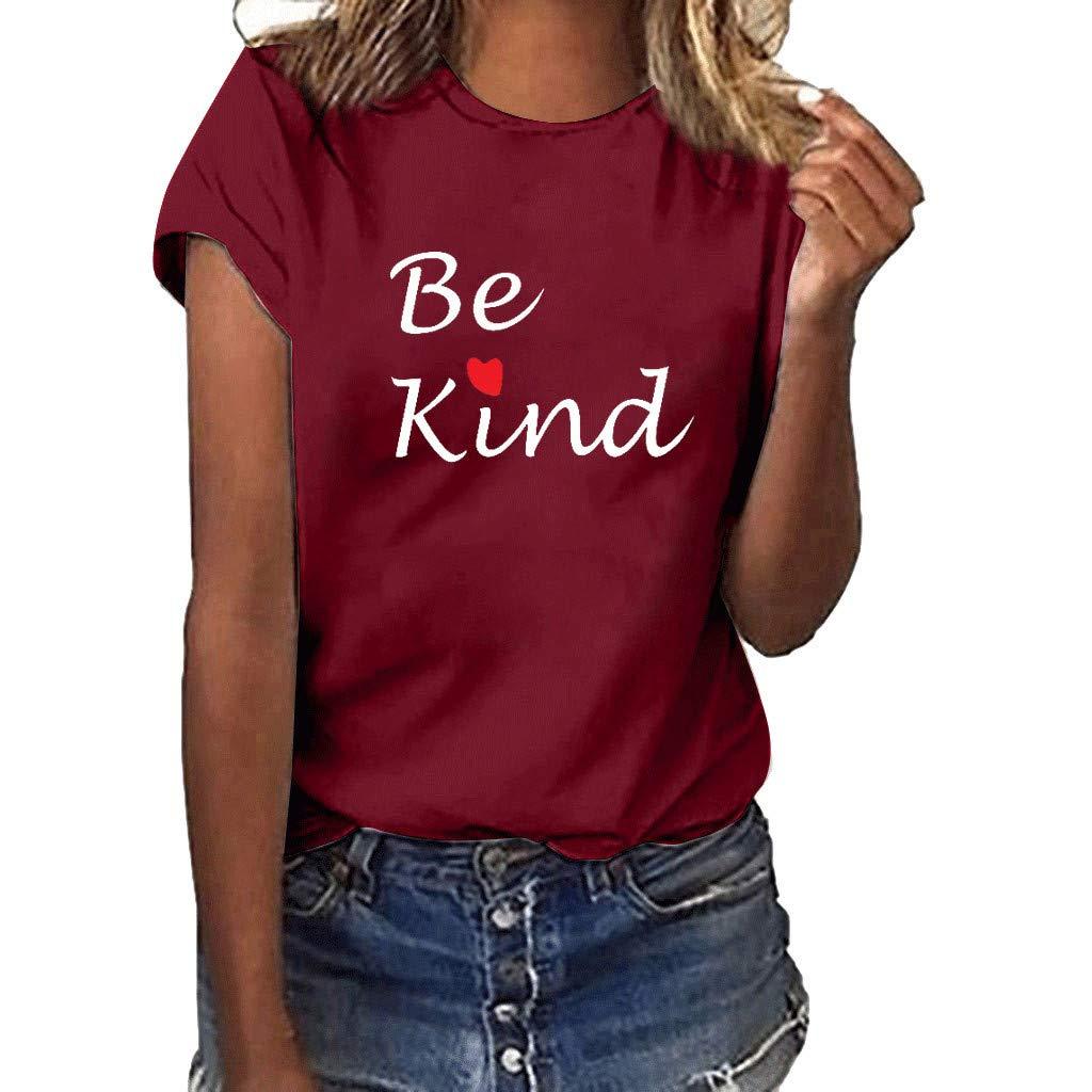 Love T-Shirt for Women Summer Print Short SleeveTunic Blouse Top