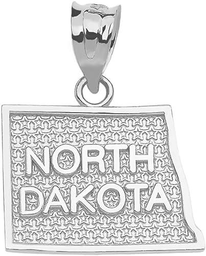 North Dakota State Map Charm Pendant in 10k Rose Gold