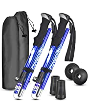 Trekking Poles Collapsible Hiking Poles - Auminum Alloy 7075 Trekking Sticks,Antishock and Quick Lock System, Telescopic, Collapsible, Ultralight for Hiking, Camping