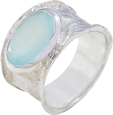 Joy Gemstone Blue Chalcedony Gift Stacking Ring Aqua Chalcedony Natural Chalcedony Gemstone Ring,Sagittarius Birthstone