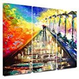 ArtWall Susi Franco 'Rainy Paris Evening' 3-Piece Gallery Wrapped Canvas Artwork, 32 by 72-Inch