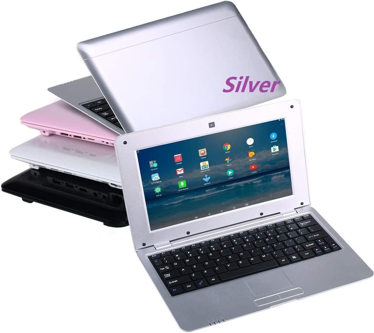 Goldengulf 10.1 Inch Quad Core 8GB Computer Laptop PC Android 6.0 Mini Netbook Slim and Lightweight Notebook WiFi Webcam Netflix YouTube Google Player Flash (Silver)