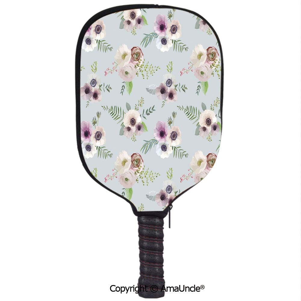 AmaUncle 3D Pickleball Paddle Racket Cover Case,Vintage Bouquets Bridal Corsage Design Shabby Leaves Ranunculus Blossoms Decorative Customized Racket Cover ...