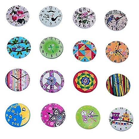 ChenXi Shop 50 piezas de madera lindo reloj patrón mixto ...