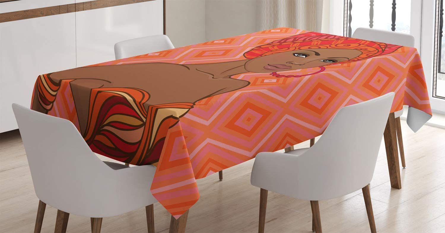 "Ambesonne Afro Decor Tablecloth, Portrait of African Woman in Dress Elegance Graphic Print, Dining Room Kitchen Rectangular Table Cover, 60"" X 84"", Scarlet Umber"