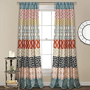 Lush Decor, Turquoise and Orange Bohemian Stripe Window Curtain Colorful Bold Design Panel Pair, 84