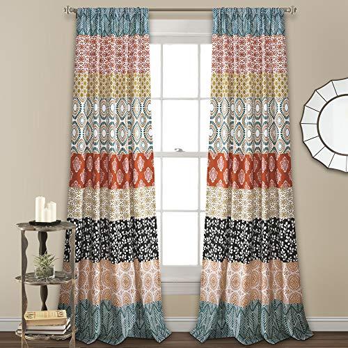 "Lush Decor, Turquoise and Orange Bohemian Stripe Window Curtain Colorful Bold Design Panel Pair, 84"" x 52"""