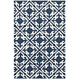 Safavieh Easy to Care Collection EZC416A Hand-Hooked Navy and Ivory Area Rug (3′ x 5′) For Sale