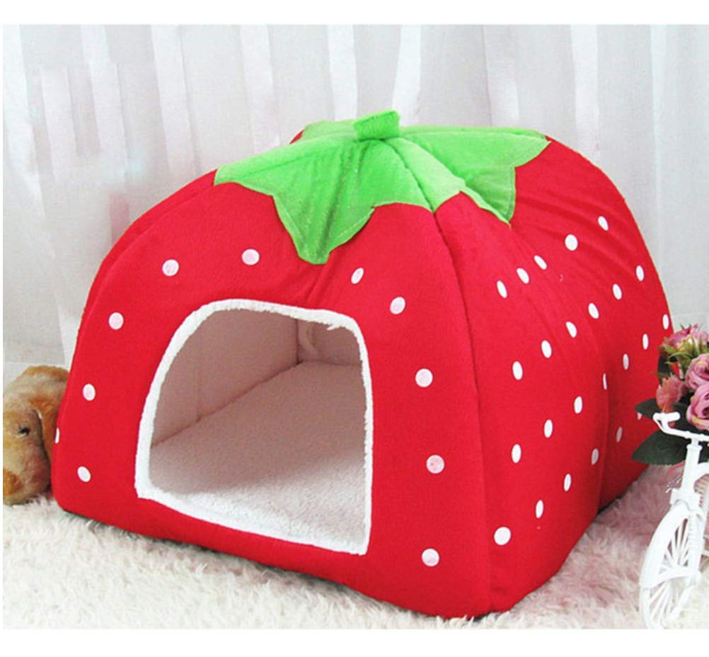 Red 43x43x45 cm Red 43x43x45 cm FidgetFidget Strawberry Dog Cat Bed House Leopard Pattern Foldable Small Pets Red 43x43x45 cm
