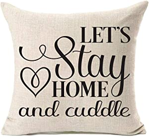 MFGNEH Let's Stay Home and Cuddle Home Quote Pillow Covers 18x18 Inches Farmhouse Decorative Square Pillow Case Cushion Cover for Sofa Couch