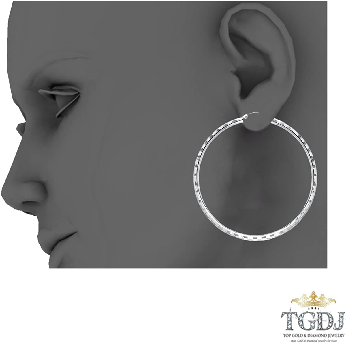 6 Different Size Available TGDJ 14k White Gold 3mm Thickness Hinged Diamond Cut Hoop Earrings