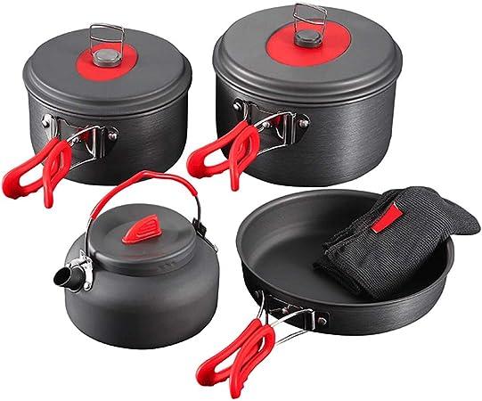 Juego de utensilios de cocina de camping de aluminio anodizado, ollas y sartenes, sin BPA, ligero, duradero, plegable, antiadherente y sin arañazos, ...
