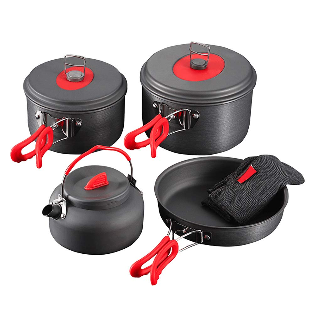 Camping Cookware Set, Anodized Aluminum Camping Pots kettle and Pans, BPA-FREE Lightweight Durable Folding Mess Kit, Non-stick and Scratch-free for 3-4 Persons Family Outdoor Camping Hiking Fishing by JeBe