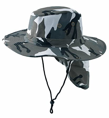 ce7f559f SAFARI Boonie Grey Camouflage Neck Flap Chin Strap Camo Fishing Bucket Hat  Outdoors (Gray Camouflage