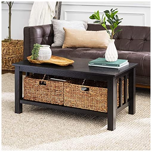 Farmhouse Coffee Tables Walker Edison Alayna Mission Style Two Tier Coffee Table with Rattan Storage Baskets, 40 Inch, Black farmhouse coffee tables