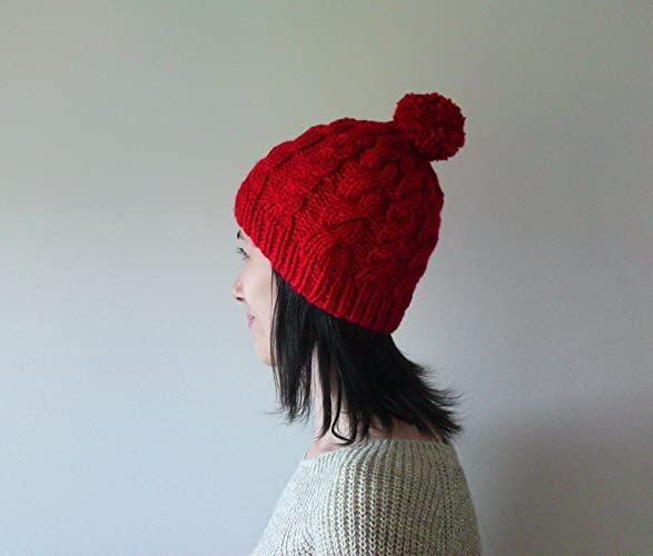 206fb119c65 Amazon.com  Hand Knitted Cable Chunky Beanie in Carmen Red - Beanie with  Pom Pom - Seamless - Wool Blend - Winter Fall - Made to Order  Handmade