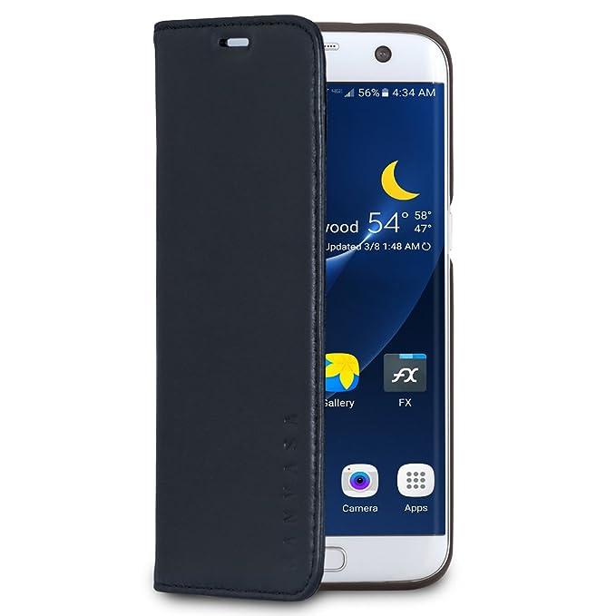 new style 36c89 87923 Galaxy S7 Edge Leather Case Flip Cover Black - KANVASA Pro Premium Genuine  Leather Wallet Book Folio Case for The Original Samsung Galaxy S7 Edge - ...