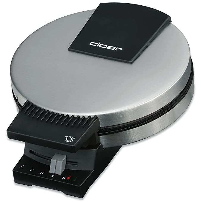 Cloer 189 Waffelautomat für kuchenartige Waffeln / 930 W/Waffelgröße 16 cm/schwere Backplatten/optische und akustische Fertig