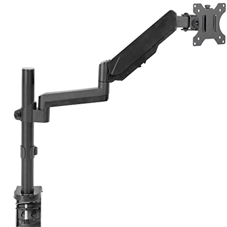 Super Vivo Black Single Arm Computer Monitor Desk Mount With Pneumatic Height Adjustment And Full Articulation Vesa Stand With C Clamp And Grommet Download Free Architecture Designs Scobabritishbridgeorg