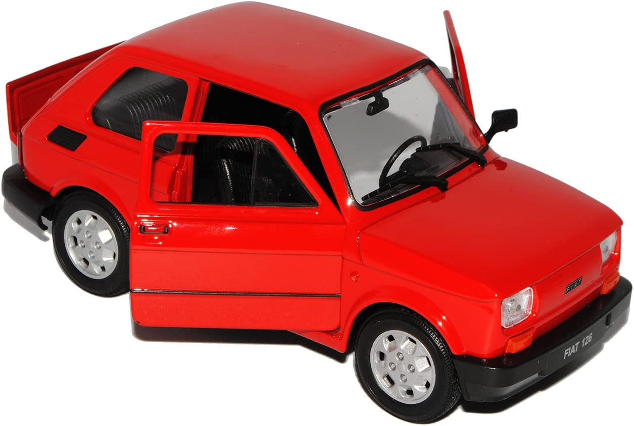 Welly Fiat 126 Rot Baugleich Polski Fiat 126p 1972-2000 1//24 Modell Auto