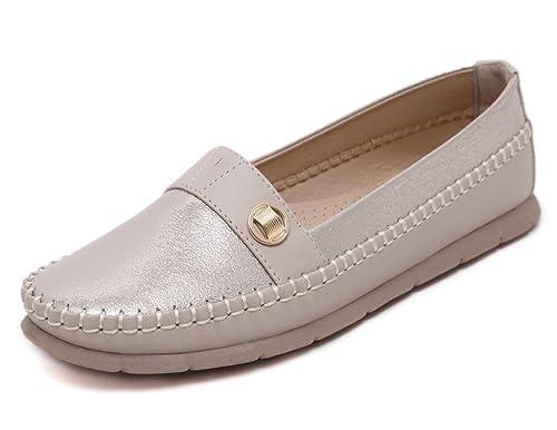 Fortunings JDS Zapatos de haba de los holgazanes del ante de los mocasines de piel de